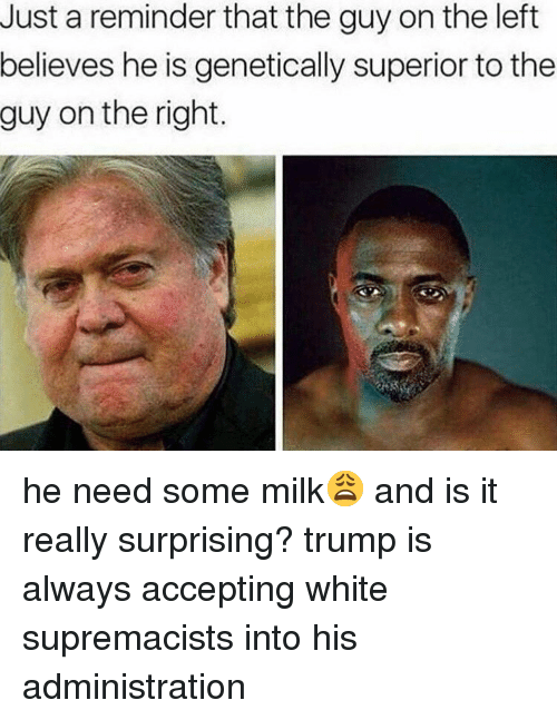 Memes, Trump, and White: Just a reminder that the guy on the left  believes he is genetically superior to the  guy on the right. he need some milk😩 and is it really surprising? trump is always accepting white supremacists into his administration