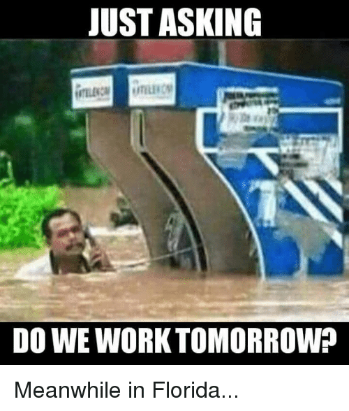just asking do we work tomorrow meanwhile in florida 4559534 just asking do we work tomorrow? meanwhile in florida meme on me me
