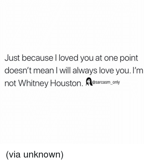 Funny, Love, and Memes: Just because I loved you at one point  doesn't mean I will always love you. I'm  not Whitney Houston. Aesarcasm.ony (via unknown)