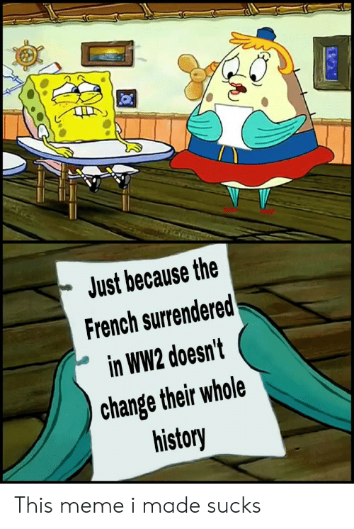 Meme, History, and French: Just because the  French surrendered  in WW2 doesn't  change their whole  history This meme i made sucks