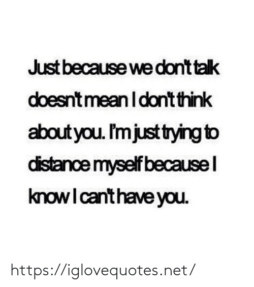 Net, Think, and You: Just because we dont talk  doesntmean I dont think  about you. I'mjusttrying to  distance myself becausel  knowI canthave you. https://iglovequotes.net/