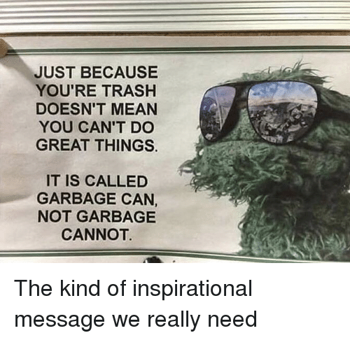 Trash, Mean, and Garbage: JUST BECAUSE  YOU'RE TRASH  DOESN'T MEAN  YOU CAN'T DC  GREAT THINGS.  IT IS CALLED  GARBAGE CAN  NOT GARBAGE  CANNOT The kind of inspirational message we really need