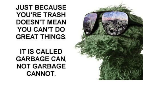 Trash, Mean, and Garbage: JUST BECAUSE  YOU'RE TRASH  DOESN'T MEAN  YOU CAN'T DO  GREAT THINGS.  IT IS CALLED  GARBAGE CAN,  NOT GARBAGE  CANNOT