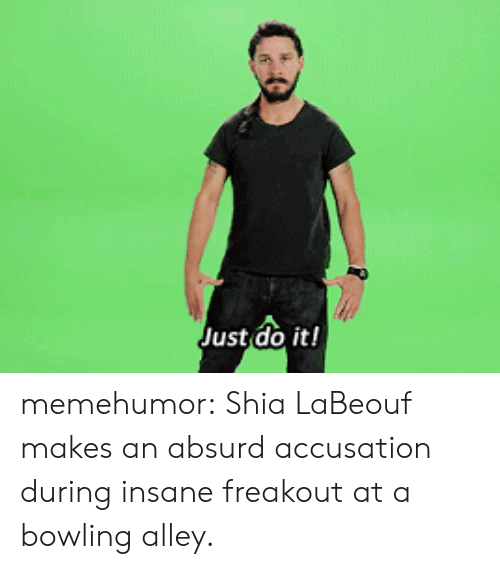 Just Do It, Shia LaBeouf, and Tumblr: Just do it! memehumor:  Shia LaBeouf makes an absurd accusation during insane freakout at a bowling alley.