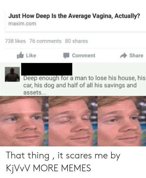 Dank, Memes, and Target: Just How Deep Is the Average Vagina, Actually?  maxim.com  738 likes 76 comments 80 shares  Like  Share  comment  Deep enough for a man to lose his house, his  car, his dog and half of all his savings and  assets. That thing , it scares me by KjVvV MORE MEMES