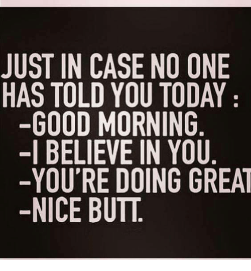Butt, Memes, and Good Morning: JUST IN CASE NO ONE  HAS TOLD YOU TODAY  GOOD MORNING  -I BELIEVE IN YOU  -YOU'RE DOING GREAT  NICE BUTT.