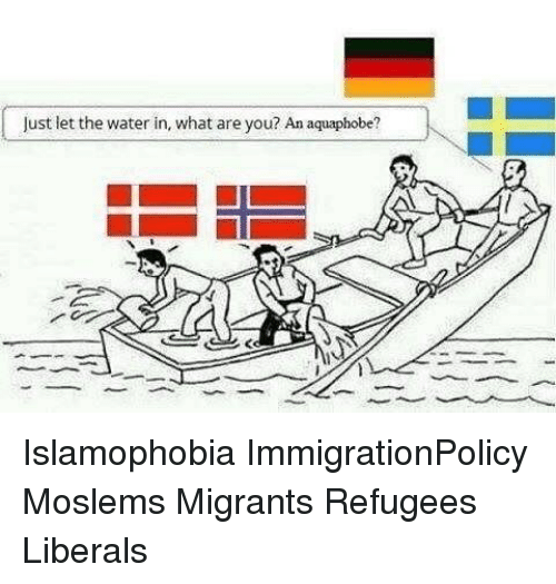 Memes, Water, and 🤖: Just let the water in, what are you? An aquaphobe? Islamophobia ImmigrationPolicy Moslems Migrants Refugees Liberals