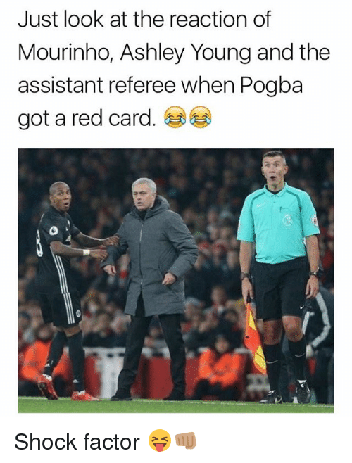 Memes, Ashley Young, and 🤖: Just look at the reaction of  Mourinho, Ashley Young and the  assistant referee when Pogba  got a red card Shock factor 😝👊🏽