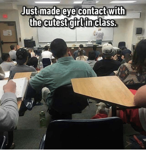 Girls, Memes, and 🤖: Just made eye contact with  the cutest girl in class.