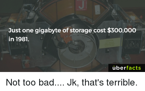 Memes, 🤖, and Gigabyte: Just one gigabyte of storage cost $300,000  in 1981.  uber  facts Not too bad.... Jk, that's terrible.