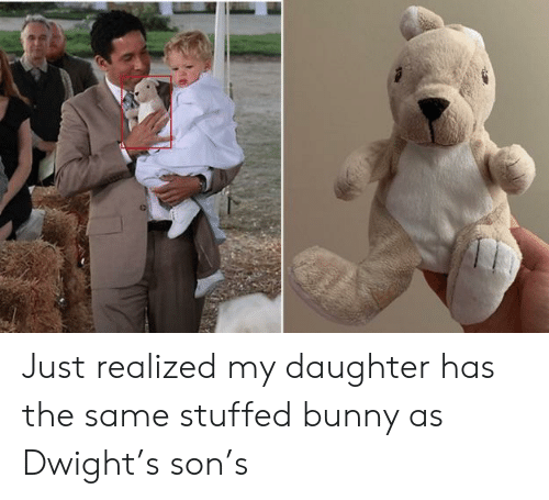 The Office, Daughter, and Bunny: Just realized my daughter has the same stuffed bunny as Dwight's son's