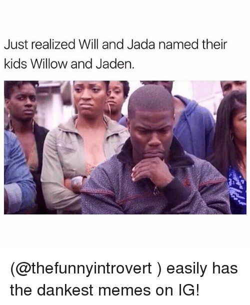 Funny, Meme, and Memes: Just realized Will and Jada named their  kids Willow and Jaden. (@thefunnyintrovert ) easily has the dankest memes on IG!