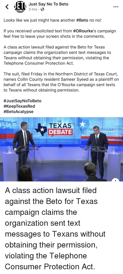 Just Say No to Beto HELL NO Nrs Looks Like We Just Might