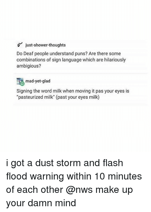 """Puns, Shower, and Shower Thoughts: just-shower-thoughts  Do Deaf people understand puns? Are there some  combinations of sign language which are hilariously  ambigious?  mad-yet-glad  Signing the word milk when moving it pas your eyes is  """"pasteurized milk"""" (past your eyes milk) i got a dust storm and flash flood warning within 10 minutes of each other @nws make up your damn mind"""