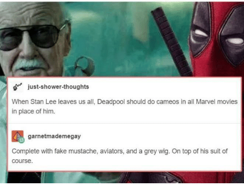 Fake, Movies, and Shower: just-shower-thoughts  When Stan Lee leaves us all, Deadpool should do cameos in all Marvel movies  in place of him.  garnetmademegay  Complete with fake mustache, aviators, and a grey wig. On top of his suit of  course.