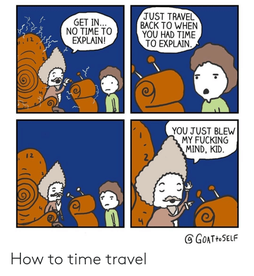 Fucking, How To, and Time: JUST TRAVEL  BACK TO WHEN  YOU HAD TIME  TO EXPLAIN  GET IN..  NO TIME TO  EXPLAIN!  YOU JUST BLEW  MY FUCKING  MIND, KID.  2  GOATHOSELF How to time travel