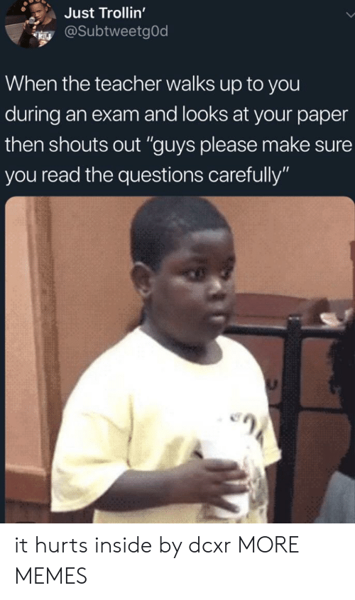 "Dank, Memes, and Target: Just Trollin'  @SubtweetgOd  When the teacher walks up to you  during an exam and looks at your paper  then shouts out ""guys please make sure  you read the questions carefully"" it hurts inside by dcxr MORE MEMES"