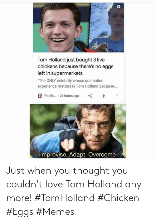 Love, Memes, and Chicken: Just when you thought you couldn't love Tom Holland any more! #TomHolland #Chicken #Eggs #Memes