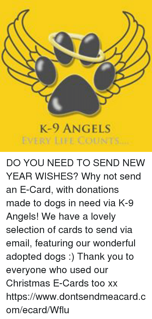 k 9 angels do you need to send new year wishes why not send an e card with donations made to dogs in need via k 9 angels we have a lovely selection of