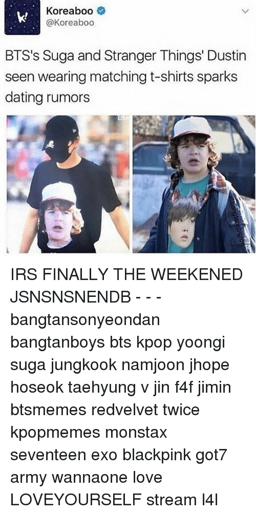K! Koreaboo BTS's Suga and Stranger Things' Dustin Seen