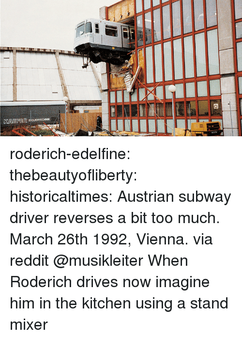 Reddit, Subway, and Target: KAEFER ISCUERTECHNIK roderich-edelfine:  thebeautyofliberty: historicaltimes:  Austrian subway driver reverses a bit too much. March 26th 1992, Vienna. via reddit  @musikleiter When Roderich drives   now imagine him in the kitchen using a stand mixer