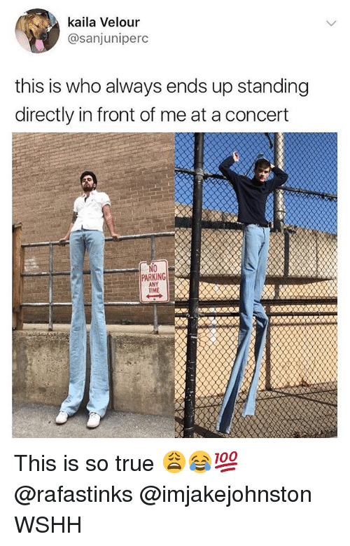 Memes, True, and Wshh: kaila Velour  @sanjuniperc  this is who always ends up standing  directly in front of me at a concert  PARKING  ANY  TIME This is so true 😩😂💯 @rafastinks @imjakejohnston WSHH