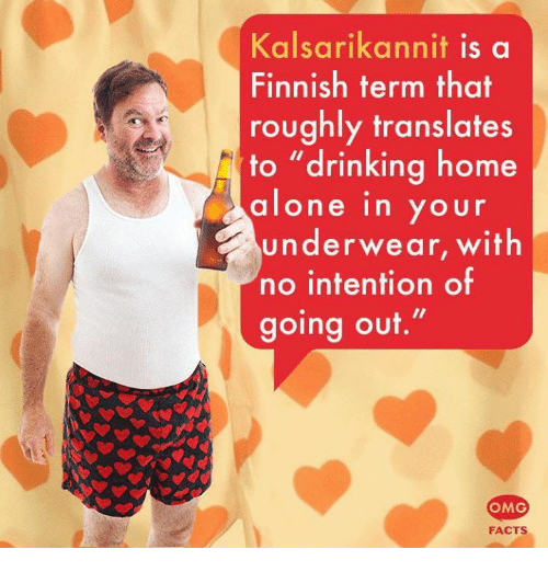 """Being Alone, Drinking, and Facts: Kalsarikannit is a  Finnish term that  roughly translates  to """"drinking home  alone in your  underwear, with  no intention of  going out.""""  OMG  FACTS"""