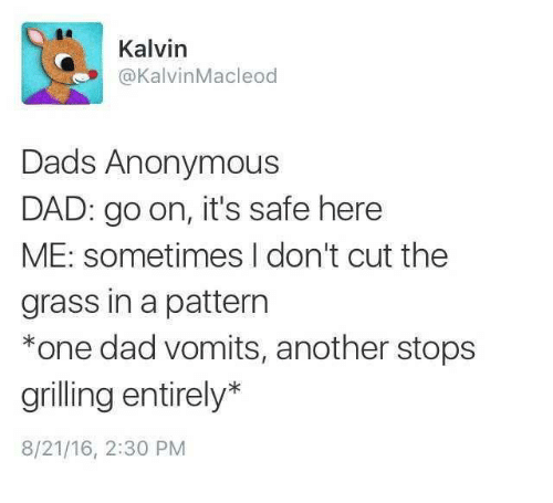 Dad, Anonymous, and Another: Kalvin  @KalvinMacleod  Dads Anonymous  DAD: go on, it's safe here  ME: sometimes I don't cut the  grass in a pattern  *one dad vomits, another stops  grilling entirely*  8/21/16, 2:30 PM