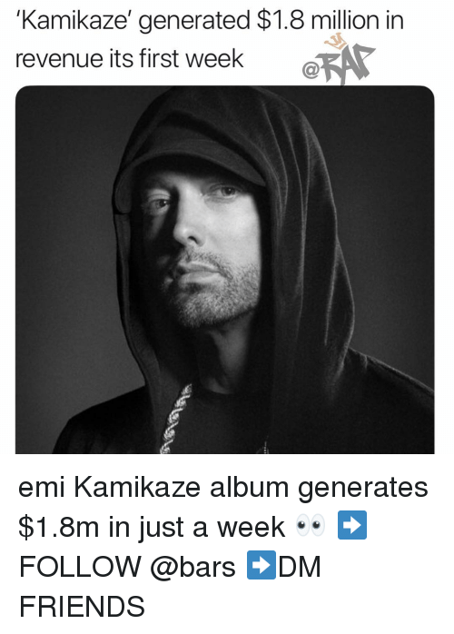 Friends, Memes, and 🤖: 'Kamikaze' generated $1.8 million in  revenue its first week  C@ emi Kamikaze album generates $1.8m in just a week 👀 ➡️FOLLOW @bars ➡️DM FRIENDS