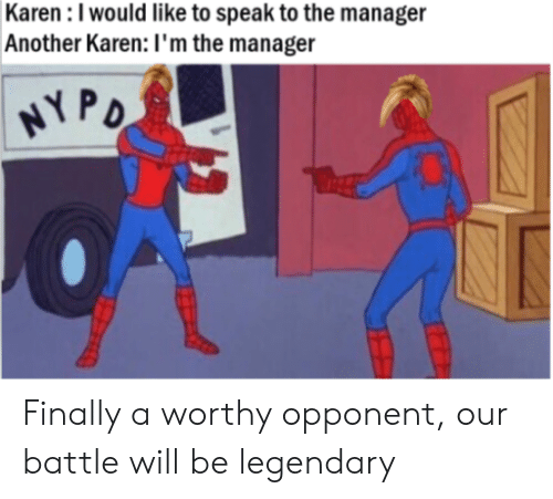 Dank Memes, Another, and Legendary: Karen : I would like to speak to the manager  Another Karen: I'm the manager  PD Finally a worthy opponent, our battle will be legendary
