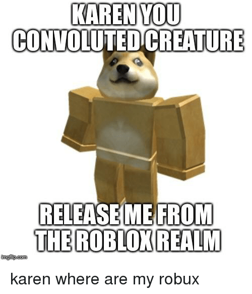 KAREN YOU CONVOLUTED CREATURE RELEASE ME FROM THE ROBLOX REALM