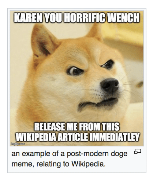 Doge, Meme, and Wikipedia: KAREN YOU HORRIFIC WENCH  RELEASE ME FROM THIS  WIKIPEDIAARTICLE IMMEDIATLEY  an example of a post-modern doge *-  meme, relating to Wikipedia.