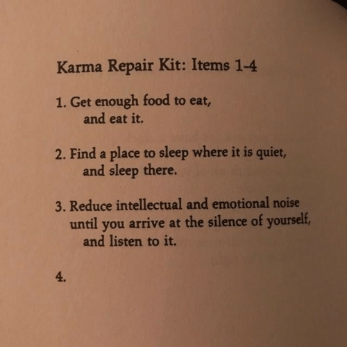 Food, Karma, and Quiet: Karma Repair Kit: Items 1-4  1. Get enough food to eat,  and eat it.  2. Find a place to sleep where it is quiet,  and sleep there.  3. Reduce intellectual and emotional noise  until you arrive at the silence of yourself,  and listen to it.  4.