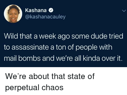 Dude, Mail, and Wild: Kashana  @kashanacauley  Wild that a week ago some dude tried  to assassinate a ton of people with  mail bombs and we're all kinda over it. We're about that state of perpetual chaos