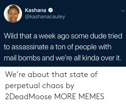 Dank, Dude, and Memes: Kashana  @kashanacauley  Wild that a week ago some dude tried  to assassinate a ton of people with  mail bombs and we're all kinda over it. We're about that state of perpetual chaos by 2DeadMoose MORE MEMES