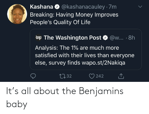 All About the Benjamins, Life, and Money: @kashanacauley · 7m  Kashana  Breaking: Having Money Improves  People's Quality Of Life  wp The Washington Post  @w... · 8h  Analysis: The 1% are much more  satisfied with their lives than everyone  else, survey finds wapo.st/2Nakiqa  2732  242 It's all about the Benjamins baby