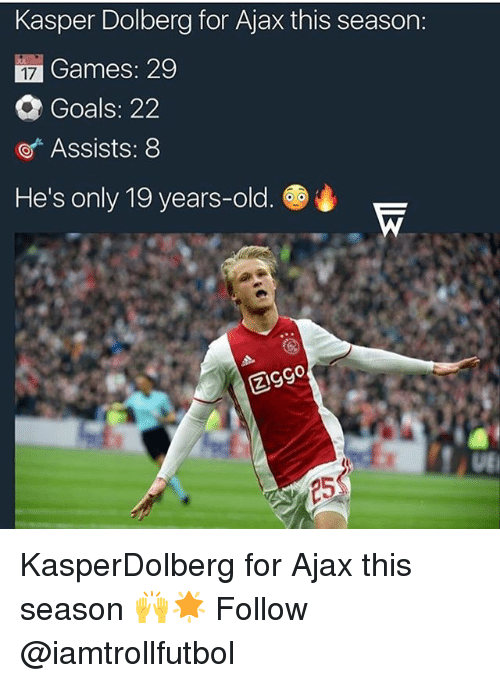 Goals, Memes, and Games: Kasper Dolberg for Ajax this season:  Games: 29  Goals: 22  Assists: 8  He's only 19 years-old. KasperDolberg for Ajax this season 🙌🌟 Follow @iamtrollfutbol