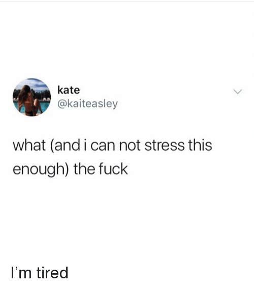 Funny, Fuck, and Stress: kate  @kaiteasley  what (and i can not stress this  enough) the fuck I'm tired