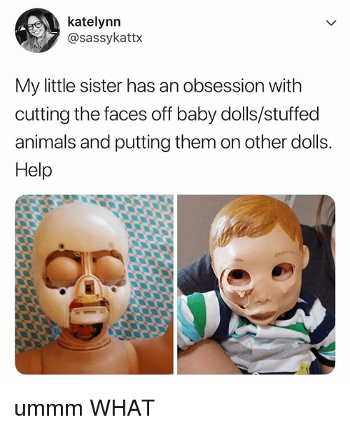Animals, Help, and Relatable: katelynn  @sassykattx  My little sister has an obsession with  cutting the faces off baby dolls/stuffed  animals and putting them on other dolls.  Help ummm WHAT