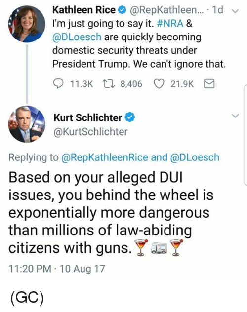 Guns, Memes, and Say It: Kathleen Rice + @RepKathleen.. 1d  I'm just going to say it. #NRA &  @DLoesch are quickly becoming  domestic security threats under  President Trump. We can't ignore that.  11.3K 8,406 CD 21.9K  Kurt Schlichter  @KurtSchlichter  Replying to @RepKathleenRice and @DLoesch  Based on your alleged DUI  issues, you behind the wheel i:s  exponentially more dangerous  than millions of law-abiding  citizens with guns. Y  11:20 PM 10 Aug 17 (GC)
