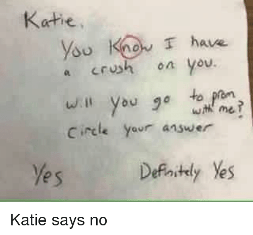 Crush, Answer, and Yes: Katie  Ysu Knon T have  a crush on you  wth me  Circle yeur answer  Yes Katie says no