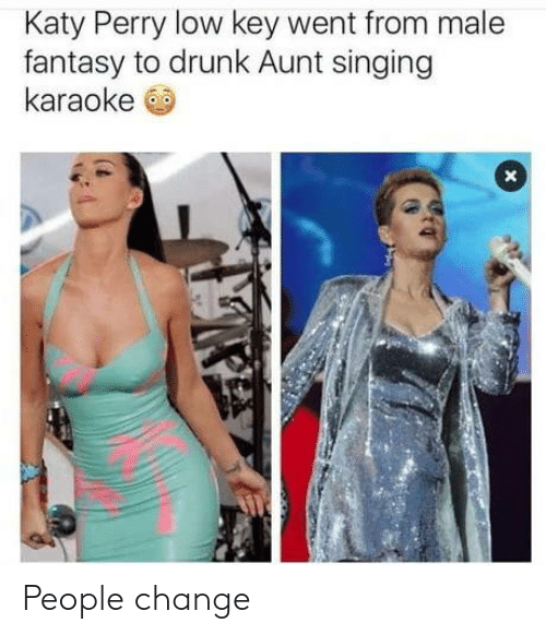 Drunk, Katy Perry, and Low Key: Katy Perry low key went from male  fantasy to drunk Aunt singing  karaoke People change