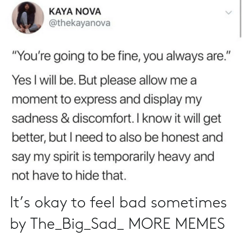 """Bad, Dank, and Memes: KAYA NOVA  @thekayanova  """"You're going to be fine, you always are.""""  Yes I will be. But please allow me  moment to express and display my  sadness & discomfort. I know it will get  better, but I need to also be honest and  say my spirit is temporarily heavy and  not have to hide that. It's okay to feel bad sometimes by The_Big_Sad_ MORE MEMES"""