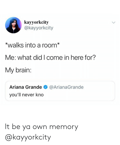 Ariana Grande, Brain, and Girl Memes: kayyorkcity  @kayyorkcity  *walks into a room  Me: what did I come in here for?  My brain:  Ariana Grande@ArianaGrande  you'll never kno It be ya own memory @kayyorkcity