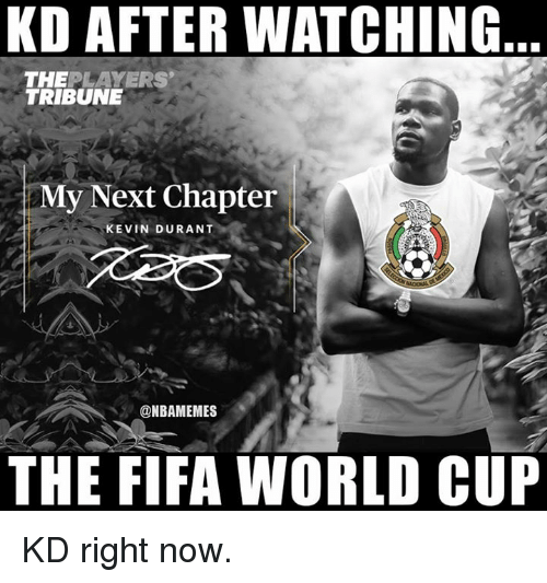Fifa, Kevin Durant, and Nba: KD AFTER WATCHING  THEPLAYERS  TRIBUNE  My Next Chapter  KEVIN DURANT  @NBAMEMES  THE FIFA WORLD CUP KD right now.