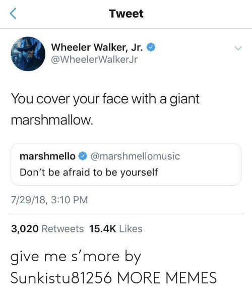 Dank, Memes, and Target: KE  Tweet  Wheeler Walker, Jr.  @WheelerWalkerJr  You cover your face with a giant  marshmallow.  marshmello @marshmellomusic  Don't be afraid to be yourself  7/29/18, 3:10 PM  3,020 Retweets 15.4K Likes give me s'more by Sunkistu81256 MORE MEMES