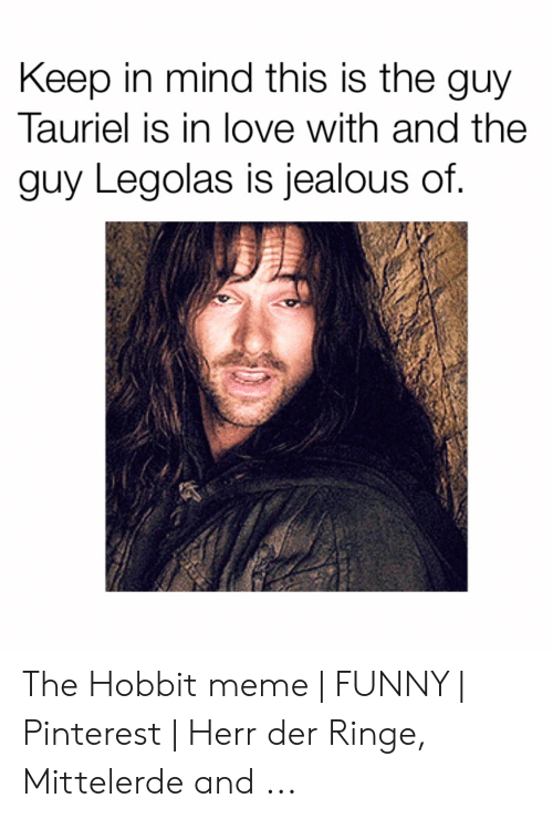 Keep In Mind This Is The Guy Tauriel Is In Love With And The Guy Legolas Is Jealous Of The Hobbit Meme Funny Pinterest Herr Der Ringe Mittelerde And