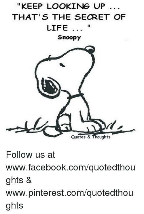 Keep Looking Up Thats The Secret Of Life Il Snoopy Quotes