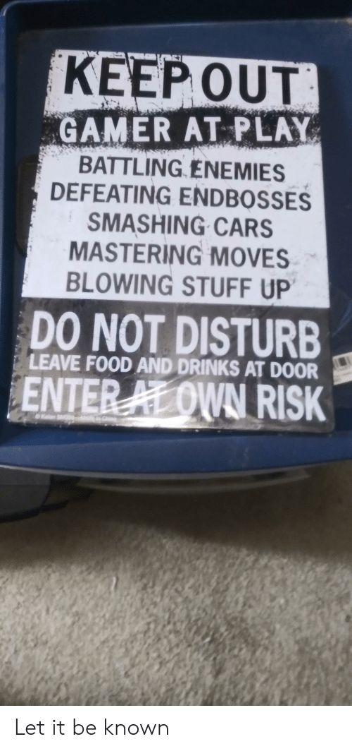 Cars, Food, and Stuff: KEEP OUT  GAMER AT PLAY  BATTLING ENEMIES  DEFEATING ENDBOSSES  SMASHING CARS  MASTERING MOVES  BLOWING STUFF UP  DO NOT DISTURB  LEAVE FOOD AND DRINKS AT DOOR  ENTER AL OWN RISK  Chine  Kalan S Let it be known