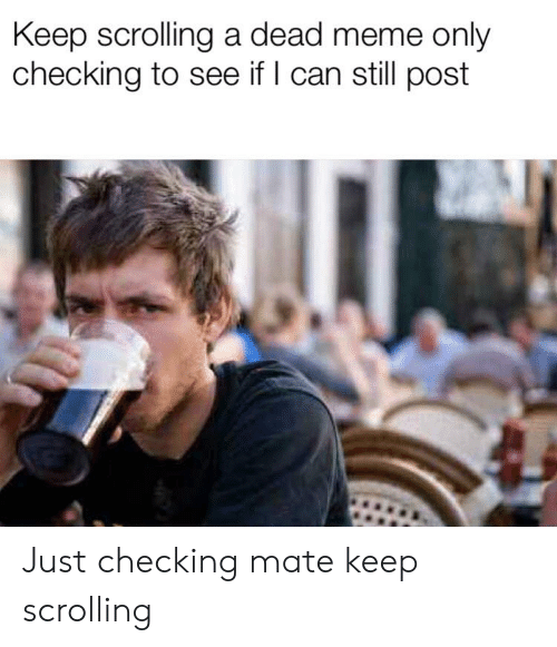 Keep Scrolling A Dead Meme Only Checking To See If L Can Still Post Just Checking Mate Keep Scrolling Meme On Me Me